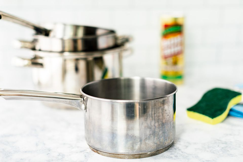 stainless pots and cleaning items