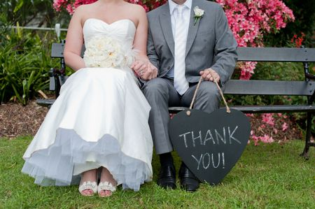 Bride Groom With Thank You Sign