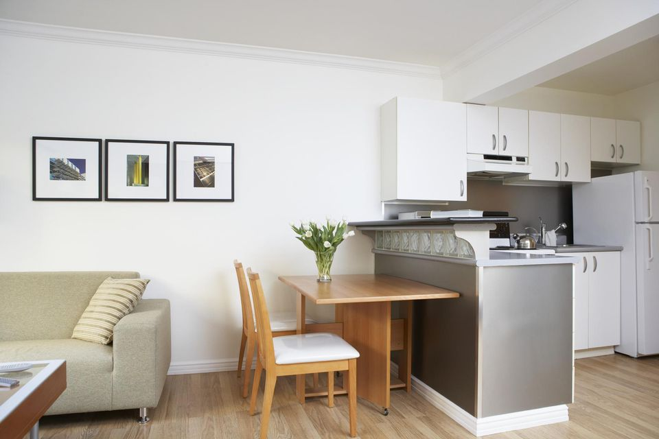 Interior of kitchen and living area in a small apartment