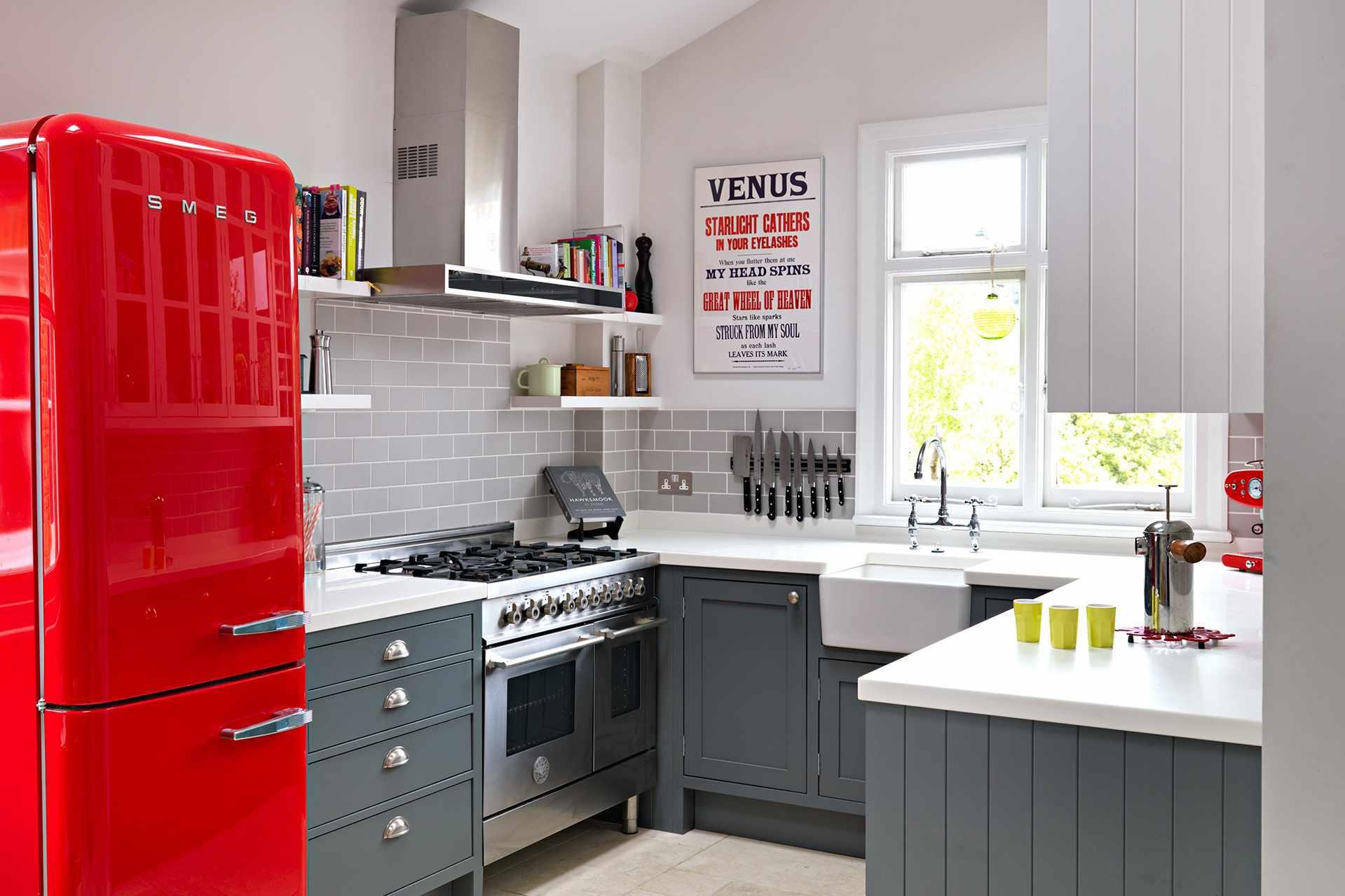 kitchen with red fridge