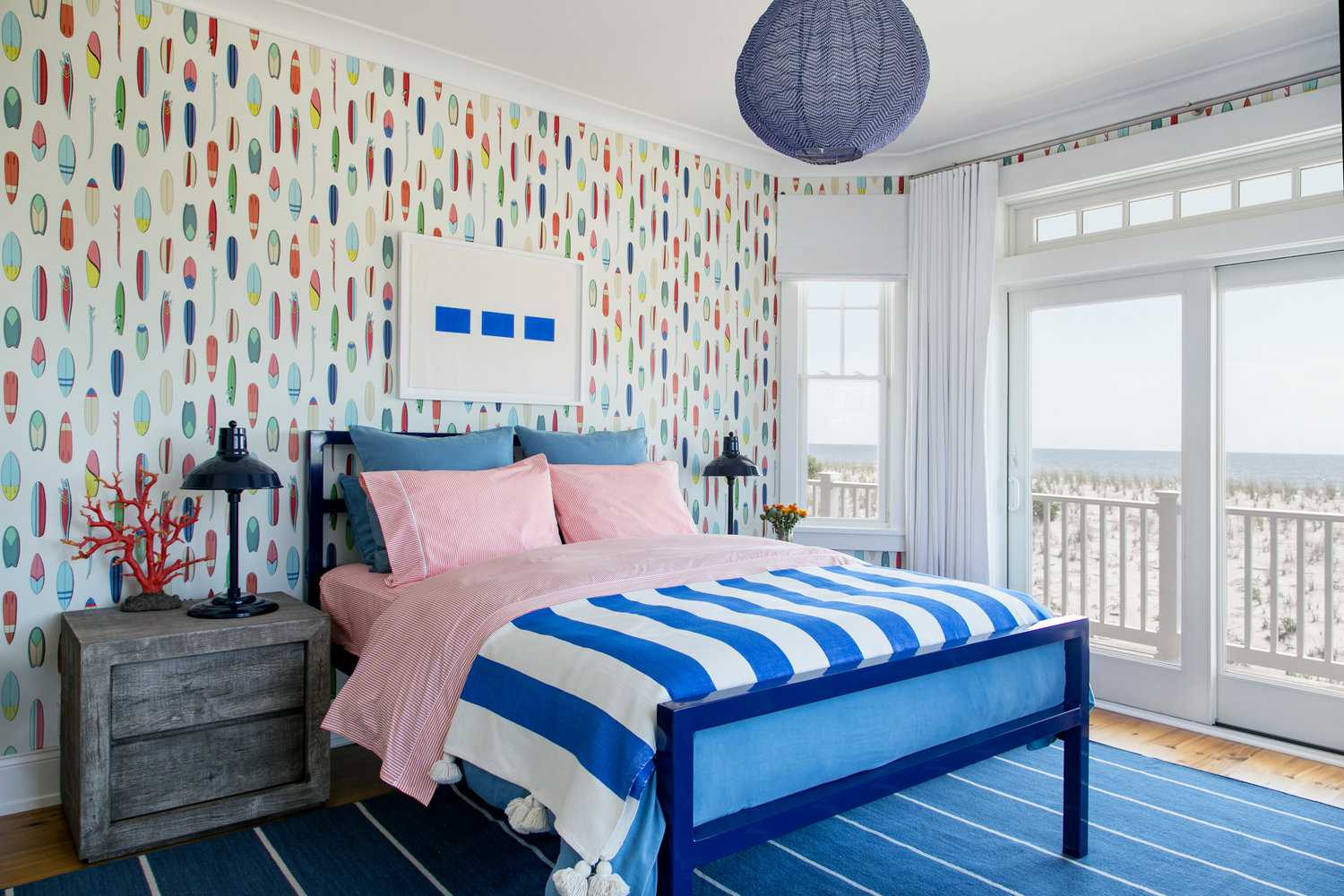red and blue coastal bedroom