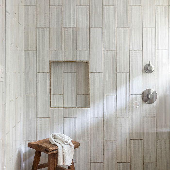 Wood effect shower tile