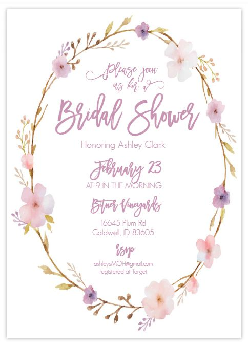 A pink and purple floral bridal shower invite