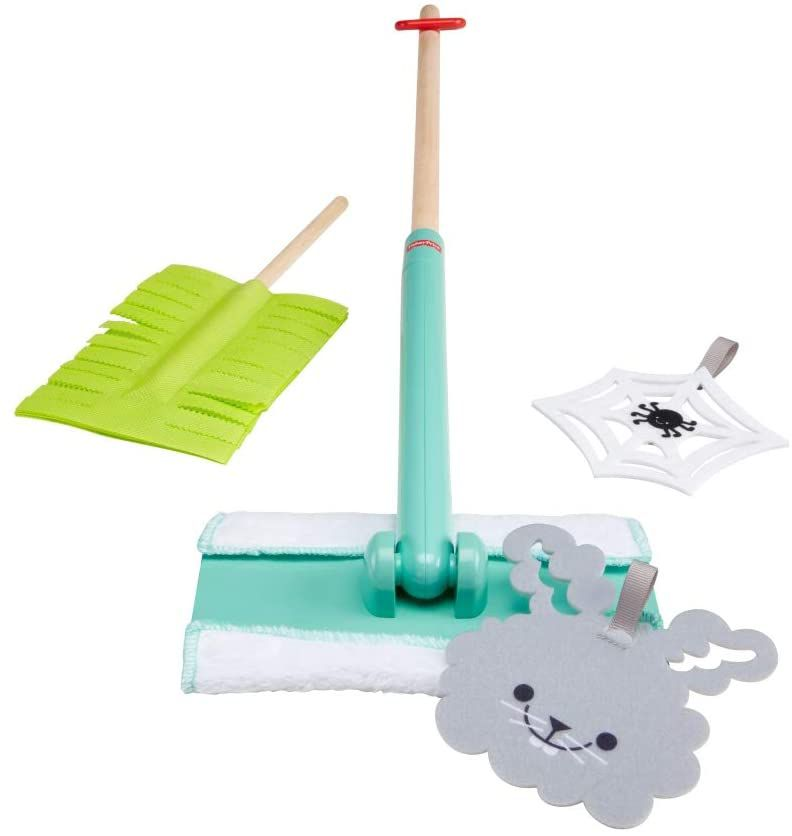 Pretend Play Housekeeping Toys Cleaning Set,6 Pcs Cleaning Tools Educational Toys for Toddler Boys and Girls Includes Dinosaur Station,Mop,Broom,Dustpan,Brush,Duster Tomons Kids Cleaning Set