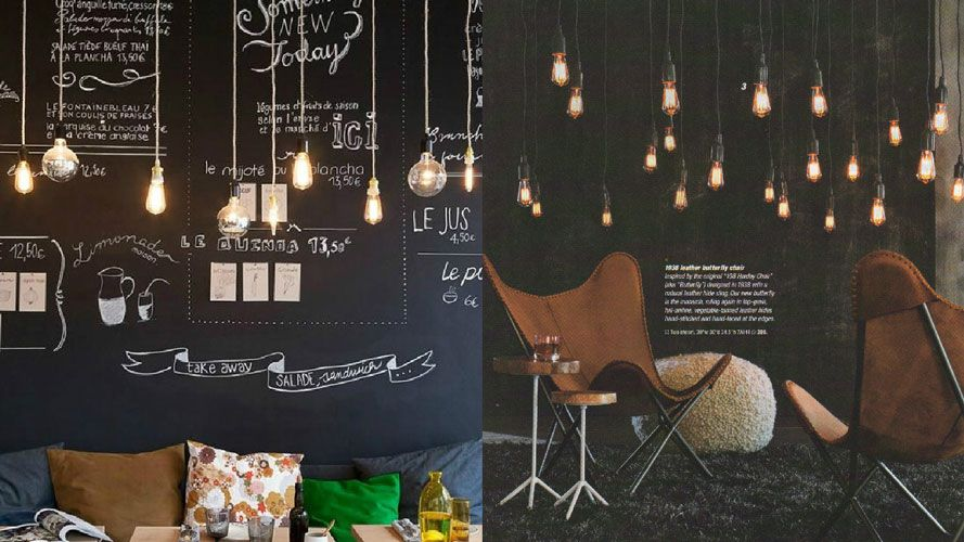 Rooms decorated with Edison bulbs
