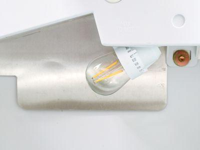 Refrigerator light closeup
