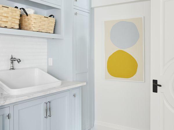 Light blue laundry room