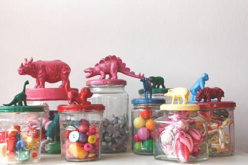Mason jars with toy lids