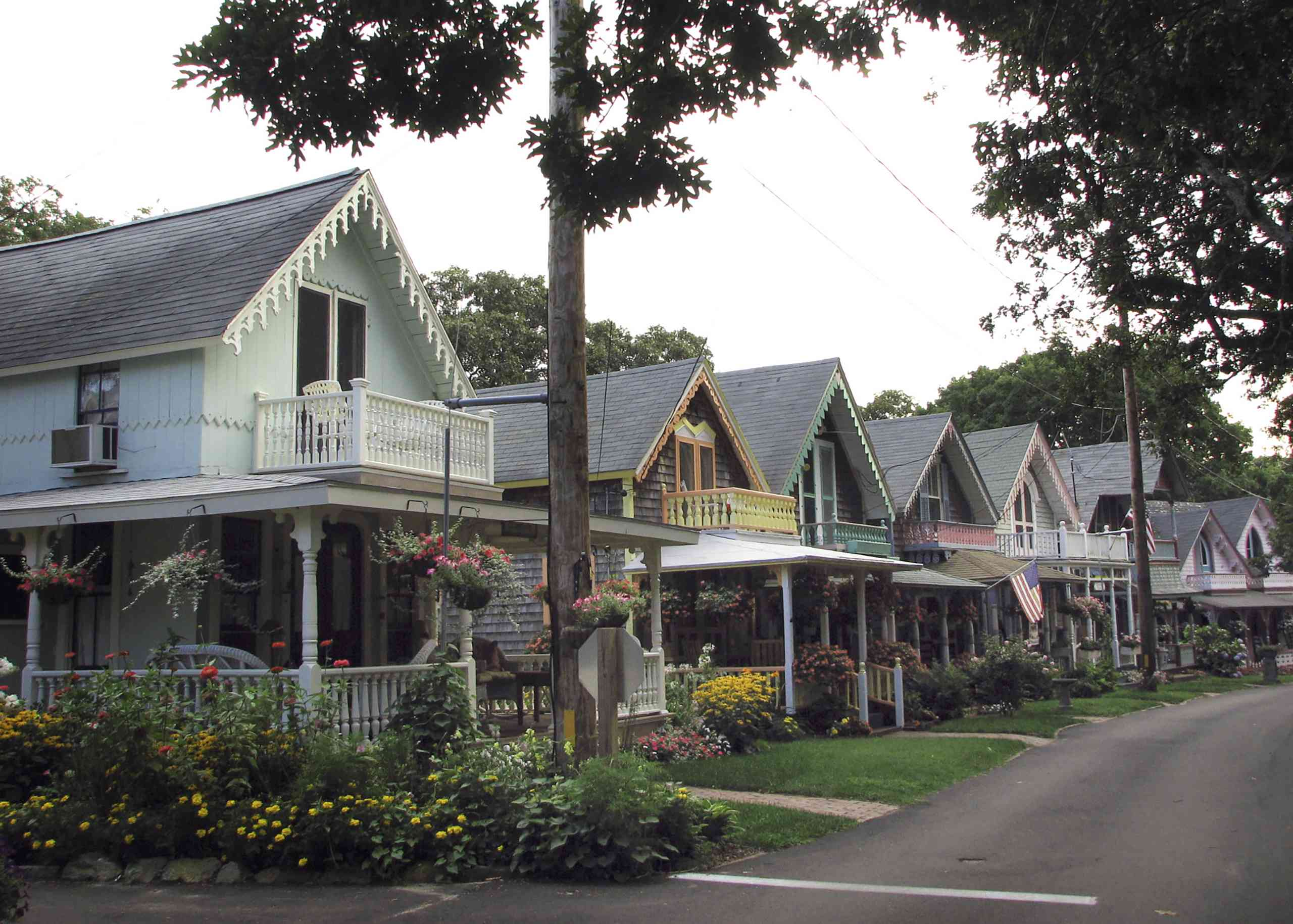 Colorful cottage houses in a neighborhood in Martha's Vineyard