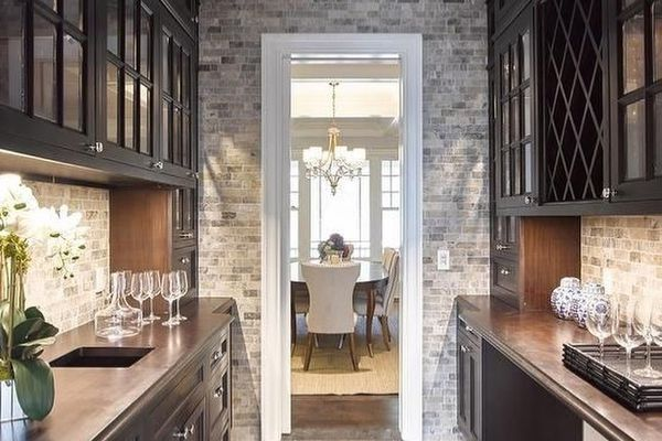 Traditional kitchen with dark brown cabinets