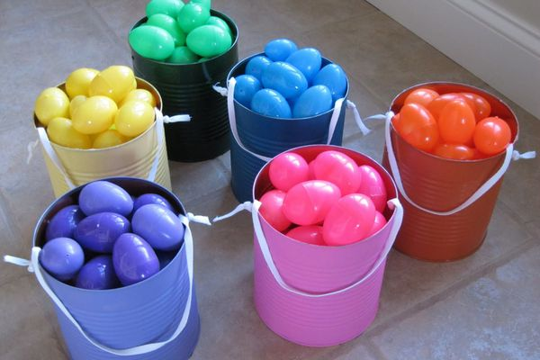 Plastic Easter eggs organized by color