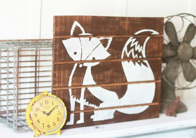 DIY palette art with adorable woodland fox