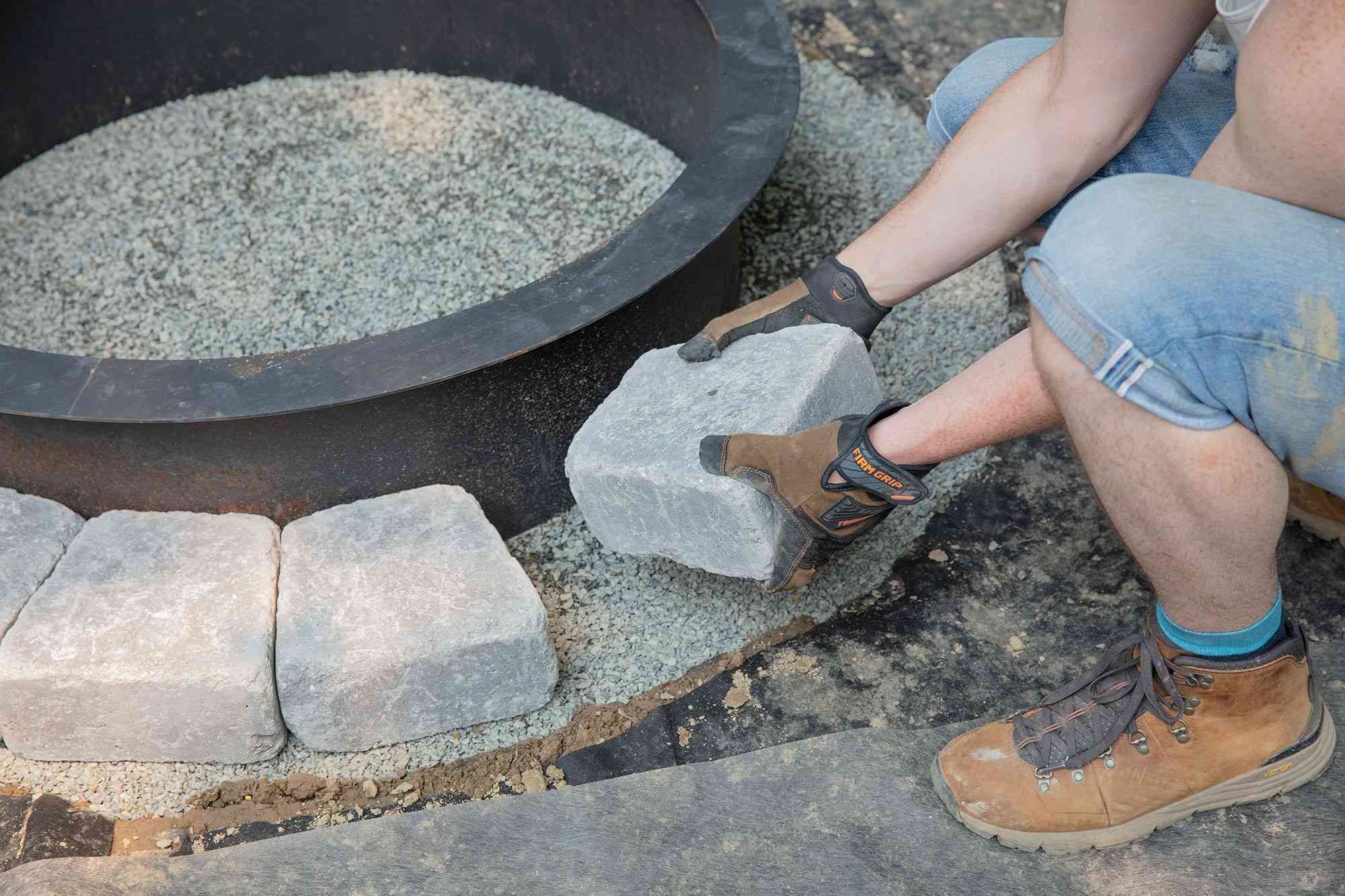 First set of tier blocks inserted around fire pit ring