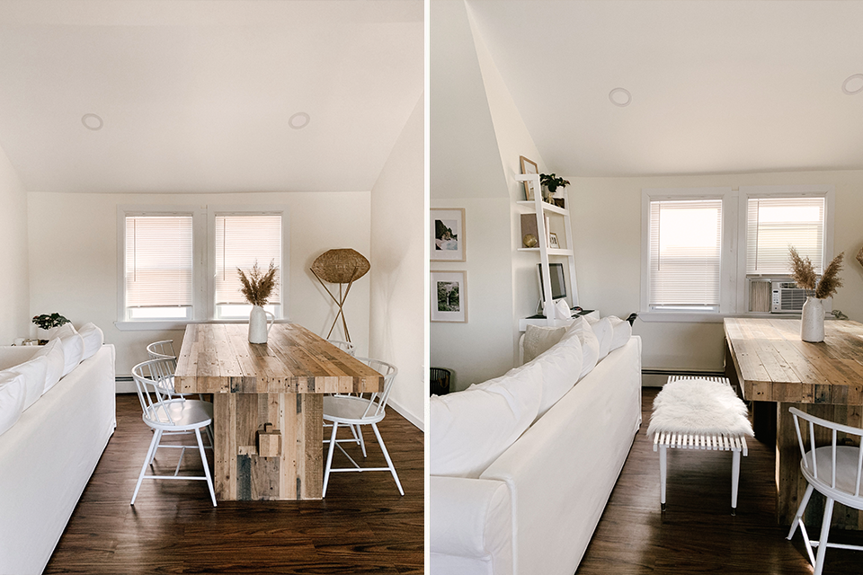 Before and after white minimalist living room