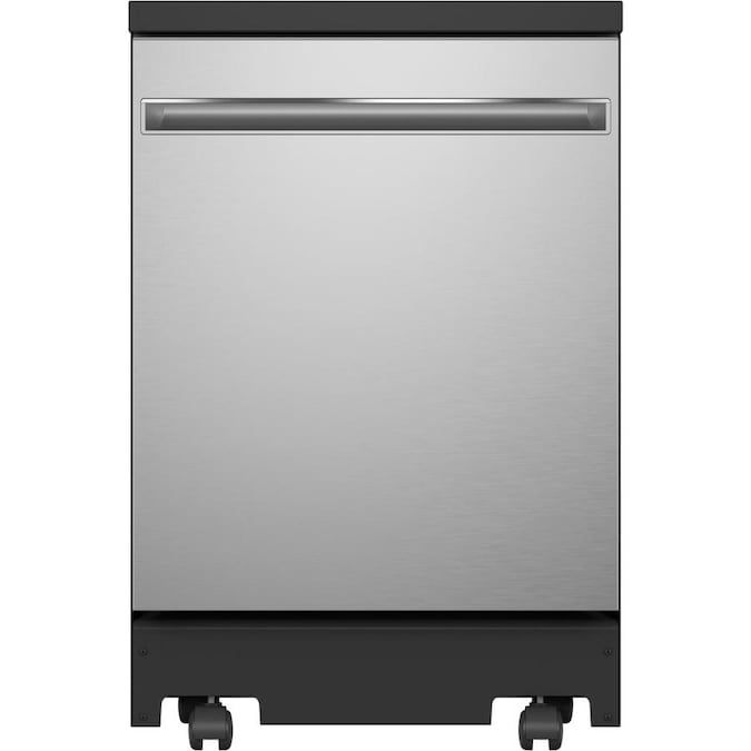 The GE GPT225SSLSS 24 in. Portable Dishwasher has a large enough capacity to fit 12 place settings.