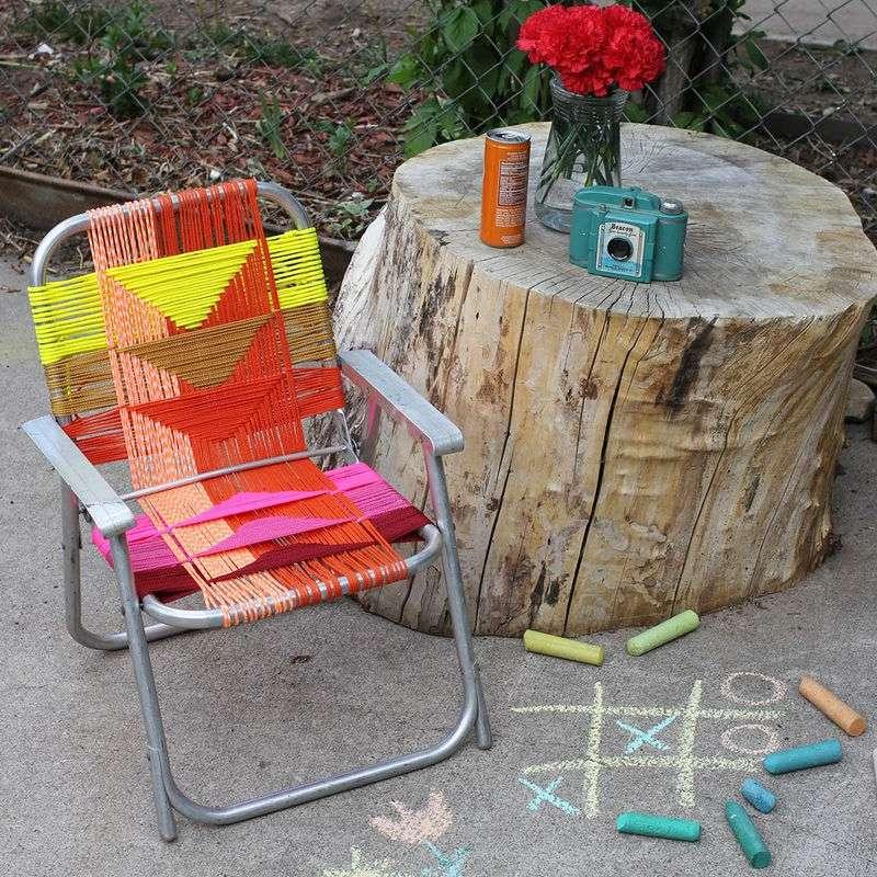 Una silla de jardín de bricolaje