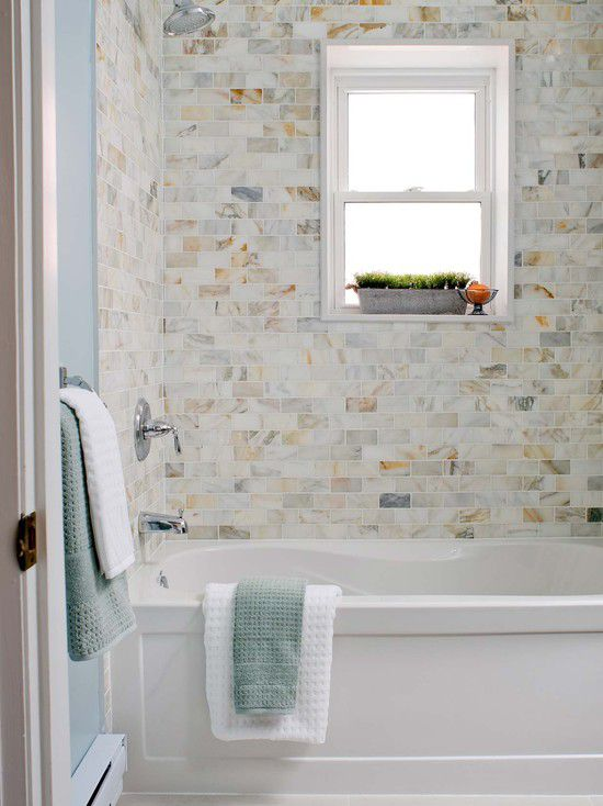 Marble And Subway Tile Bathroom. Bathroom With Variegated Marble Subway Tile