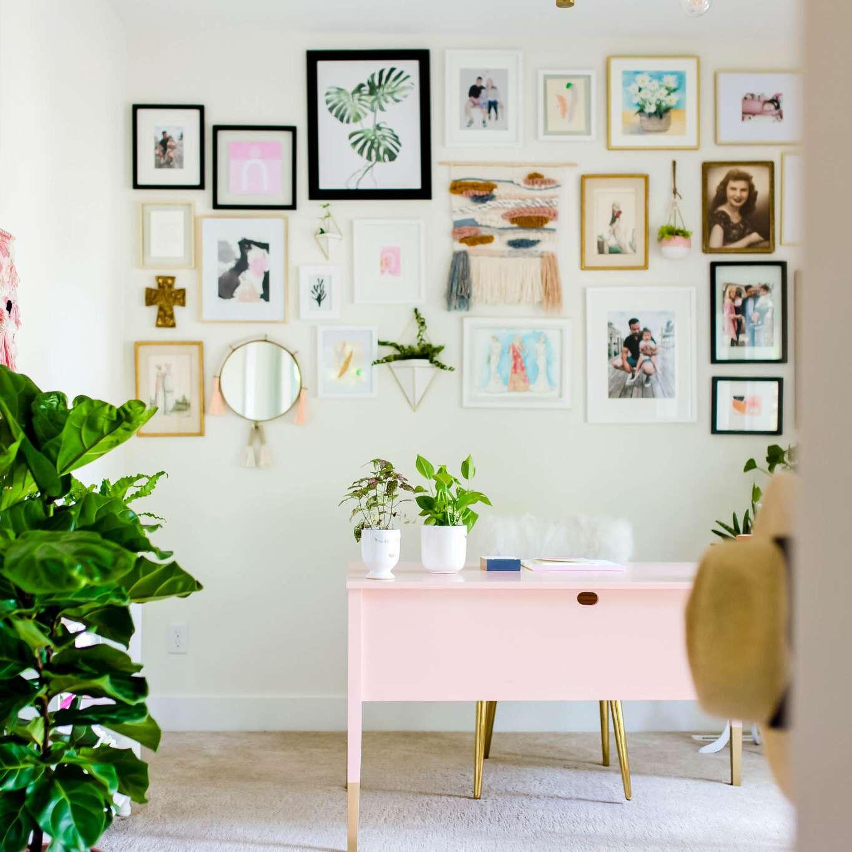 feminine office gallery wall