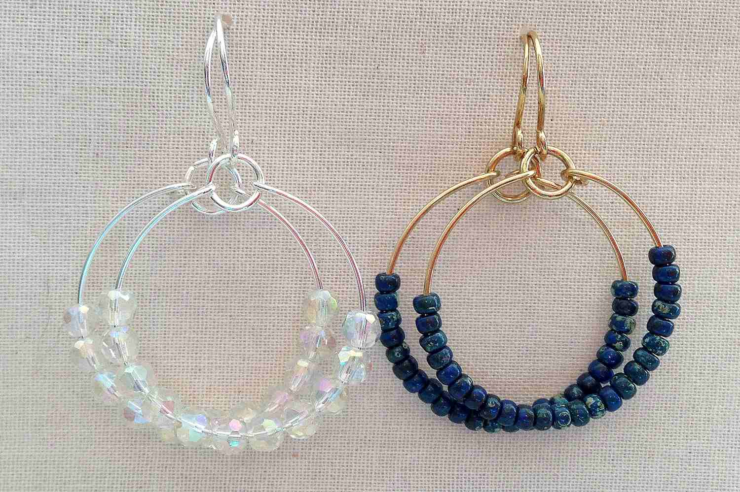 Crystal And Bead Hoops Beaded Hoop Earring Design