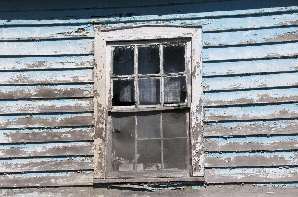 Old weathered wooden window