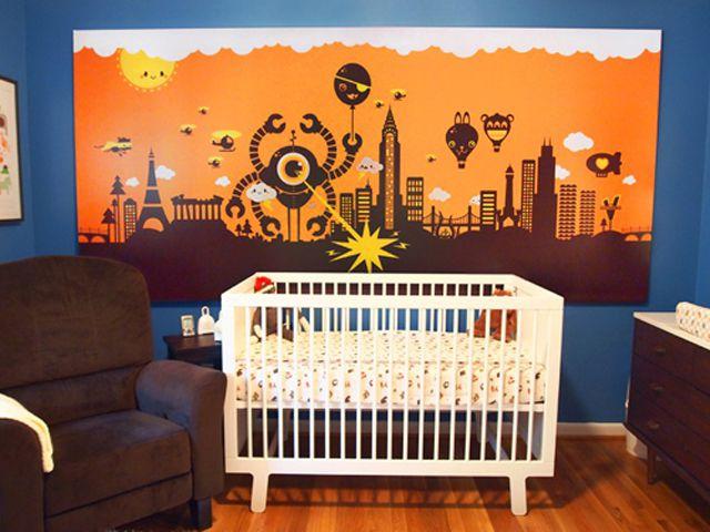 Geek-chic robot-themed nursery