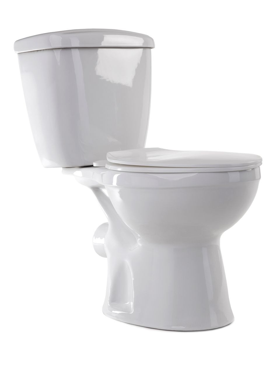 White enamel toilet on a white background