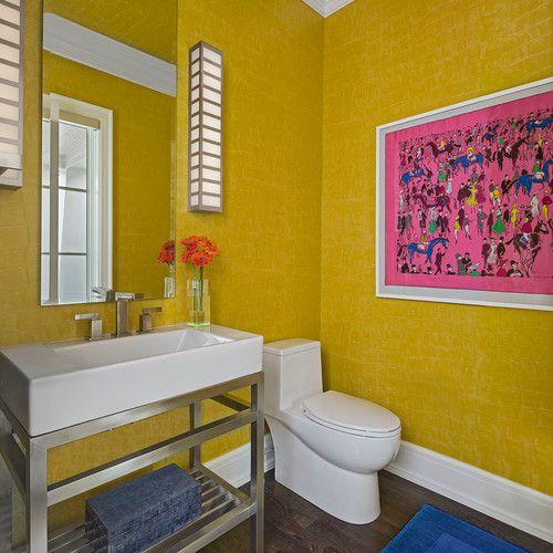 Colorful bathroom with wood floor