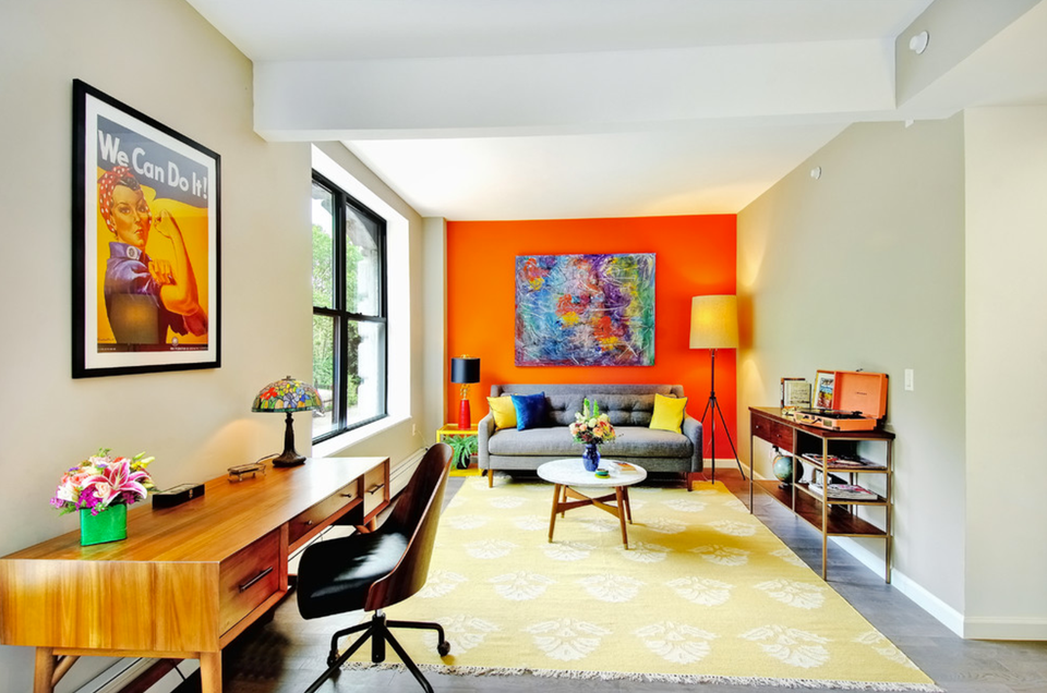 bright orange accent wall in living room