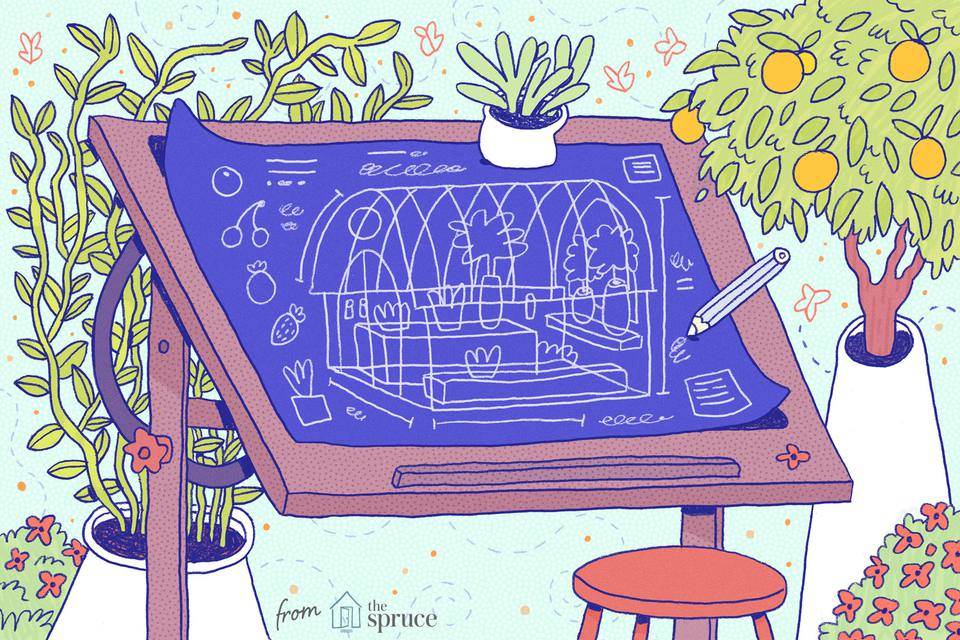 Illustration of a greenhouse blueprint being sketched.