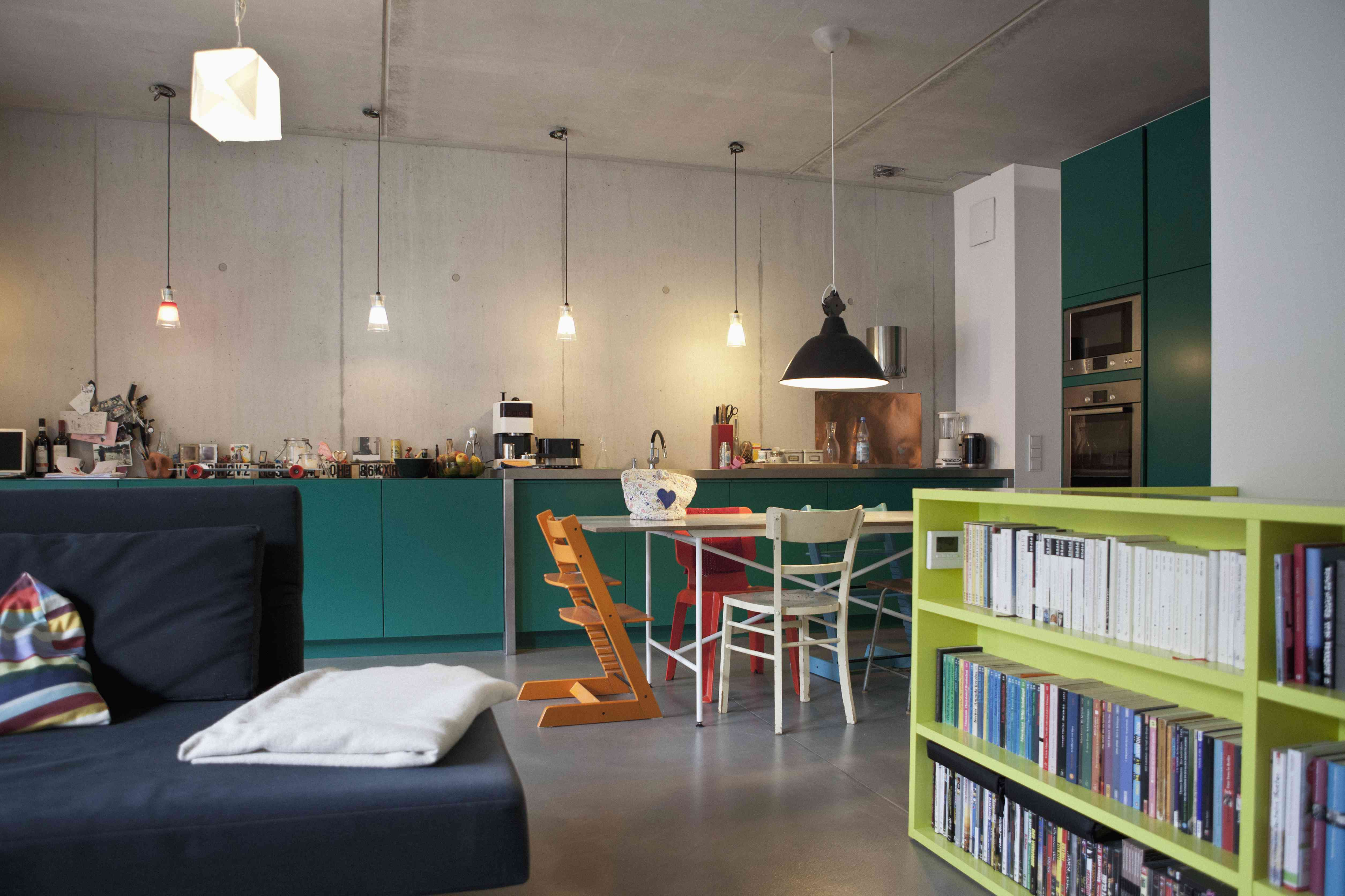 Open plan of modern kitchen and living room