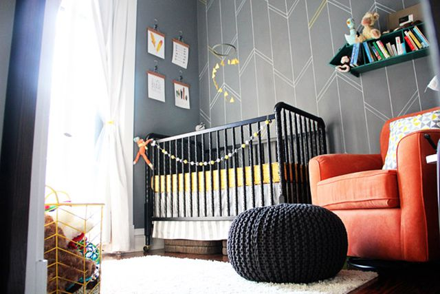 Sharpie pen chevron accent wall in nursery