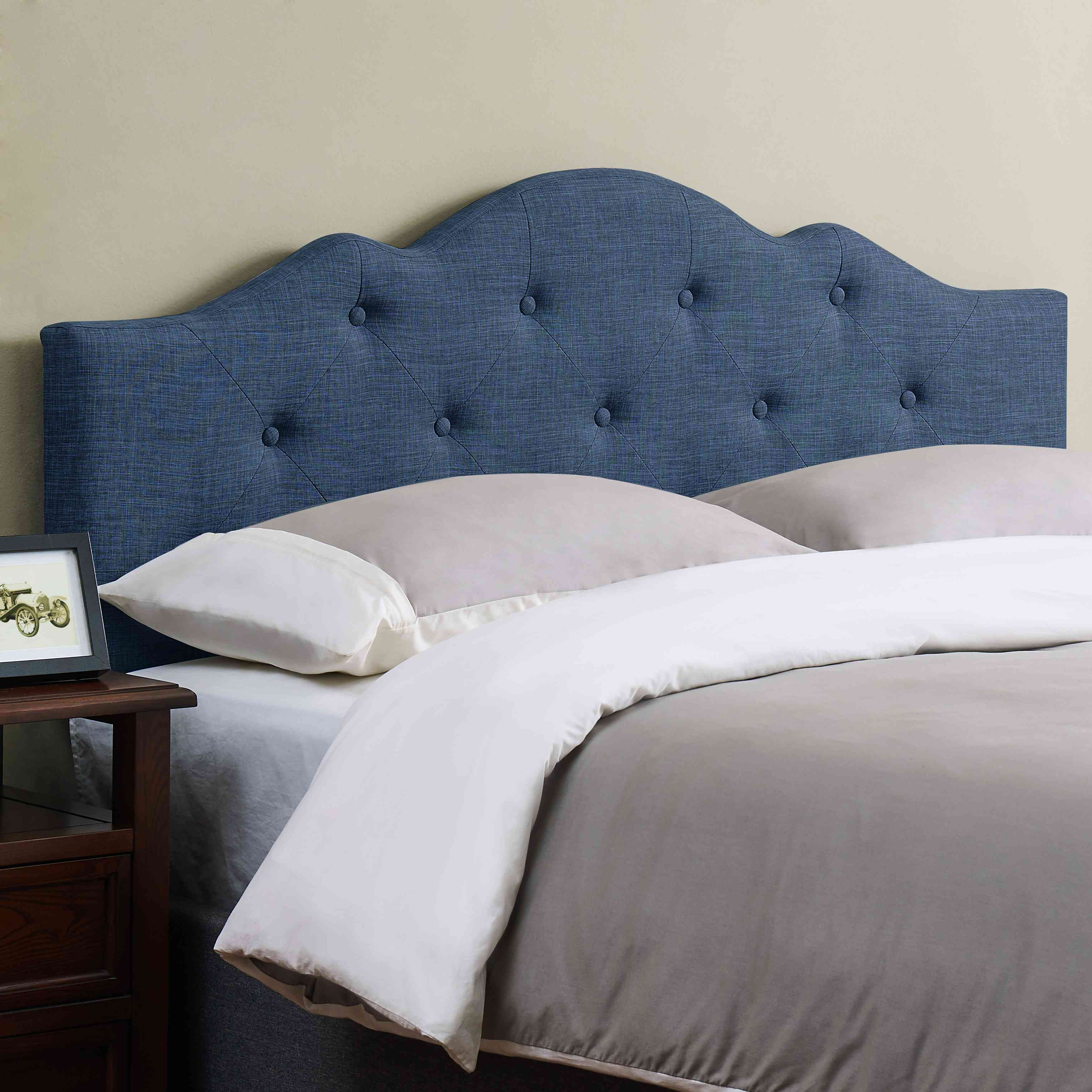 Mainstays Minimal Tufted Rounded Headboard, Multiple Sizes and Colors