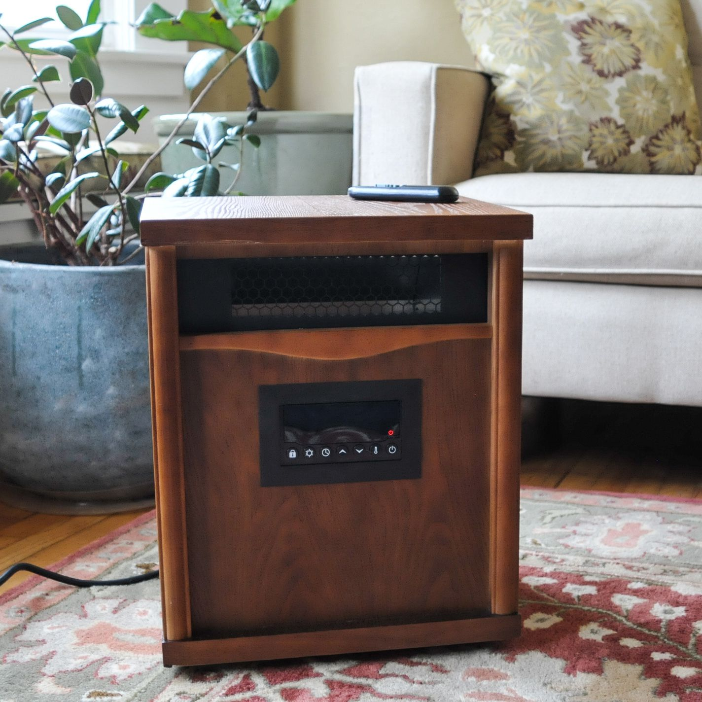 Lifesmart 6 Element IR Heater Wood Cabinet with Remote Control