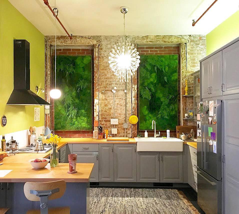 Moss Wall in Windowless Kitchen