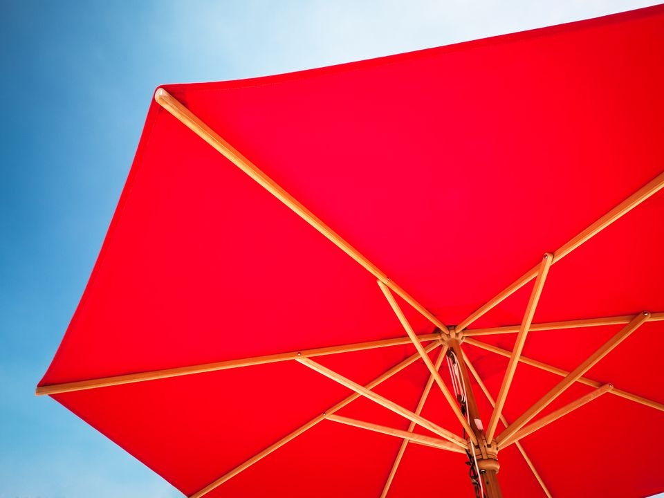 red sunshade