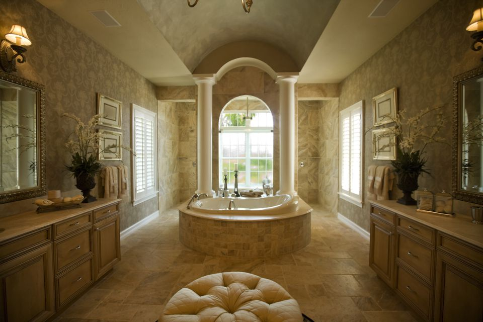 Luxury bathroom with spa tub