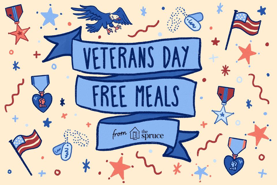 Ilustración de comidas gratis para veteranos
