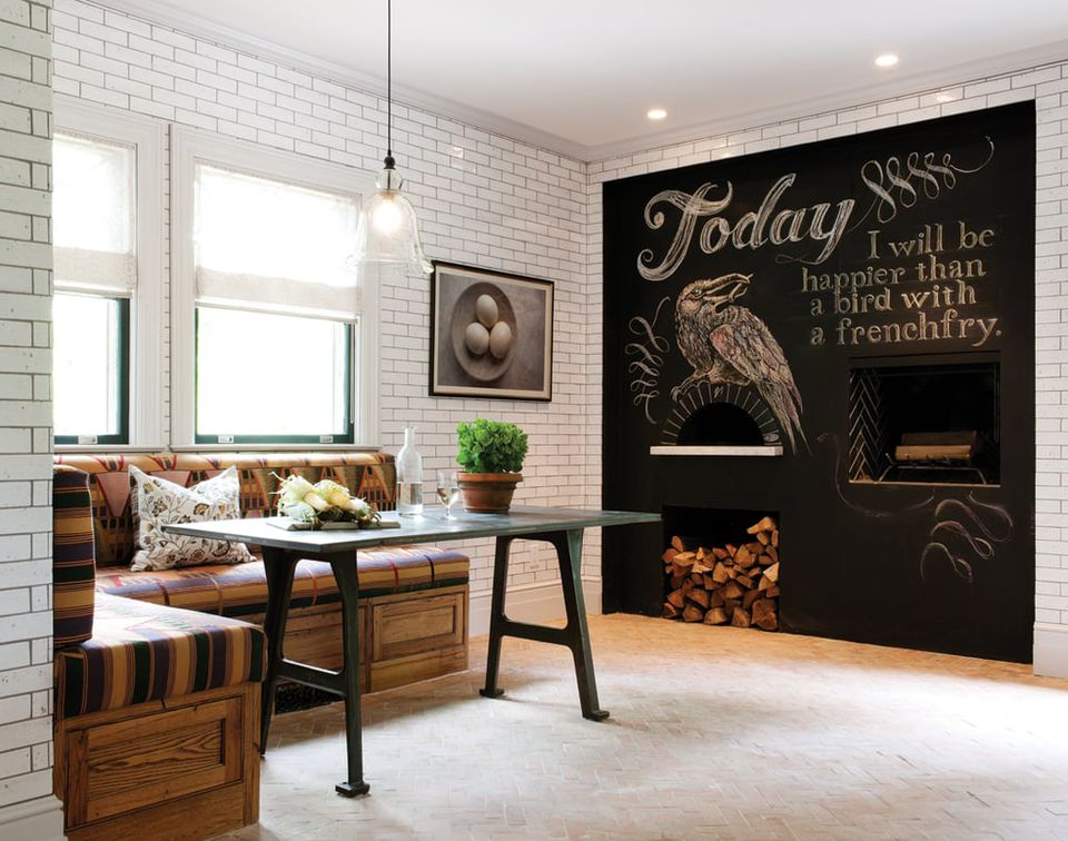chic blackboard in kitchen pizza oven