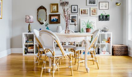 vintage pieces in retro dining room
