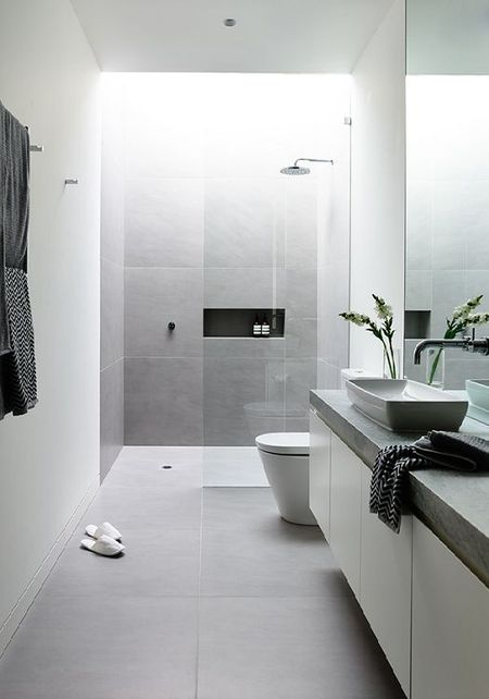gray and white modern bathroom