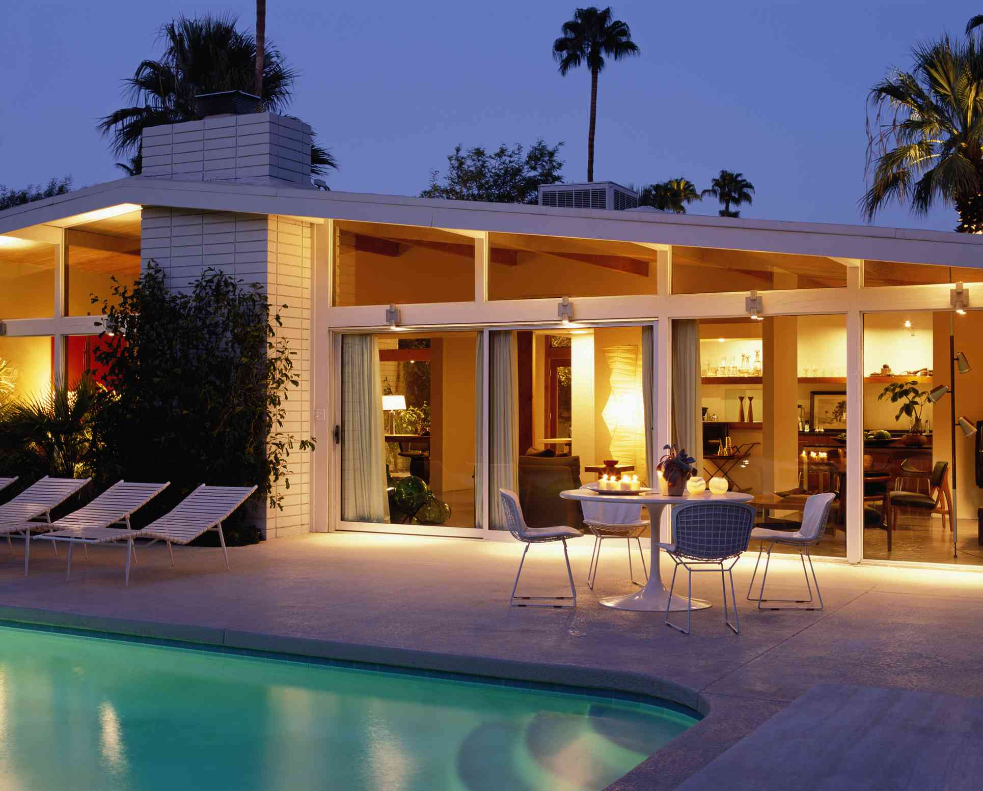 A gabled roof on a mid-century modern home.