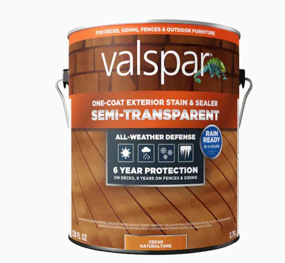 Valspar Pre-Tinted Cedar Semi-transparent Exterior Wood Stain and Sealer