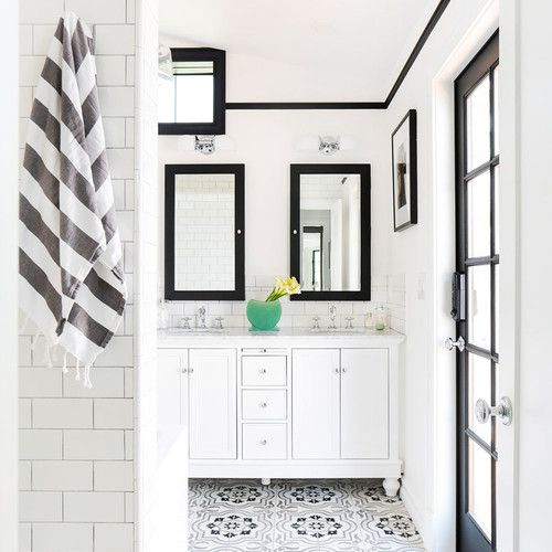 Scandinavian style black and white bathroom