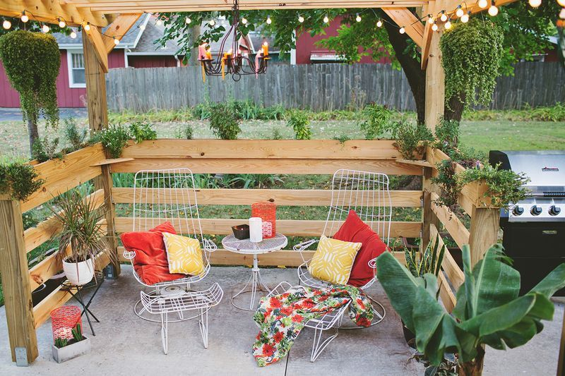 A finished outdoor pergola