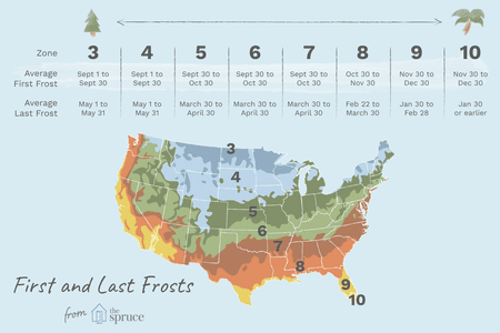 First and Last Frost Dates by USDA Zone on