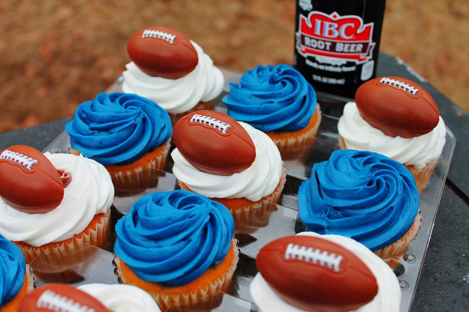 Football-themed cupcakes