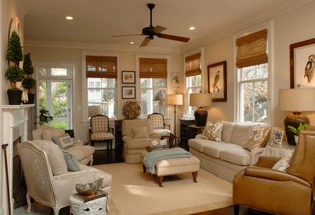 Cozy Windows Warm Traditional Living Room