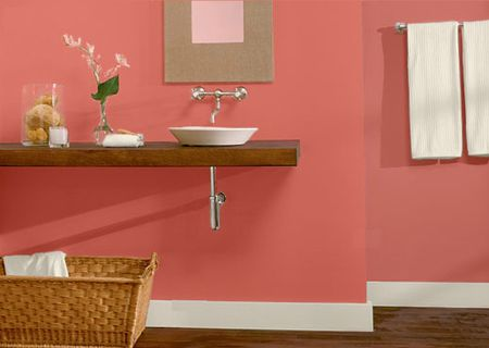Powder Room Ideas Cantilever Sink And Straw Baskets