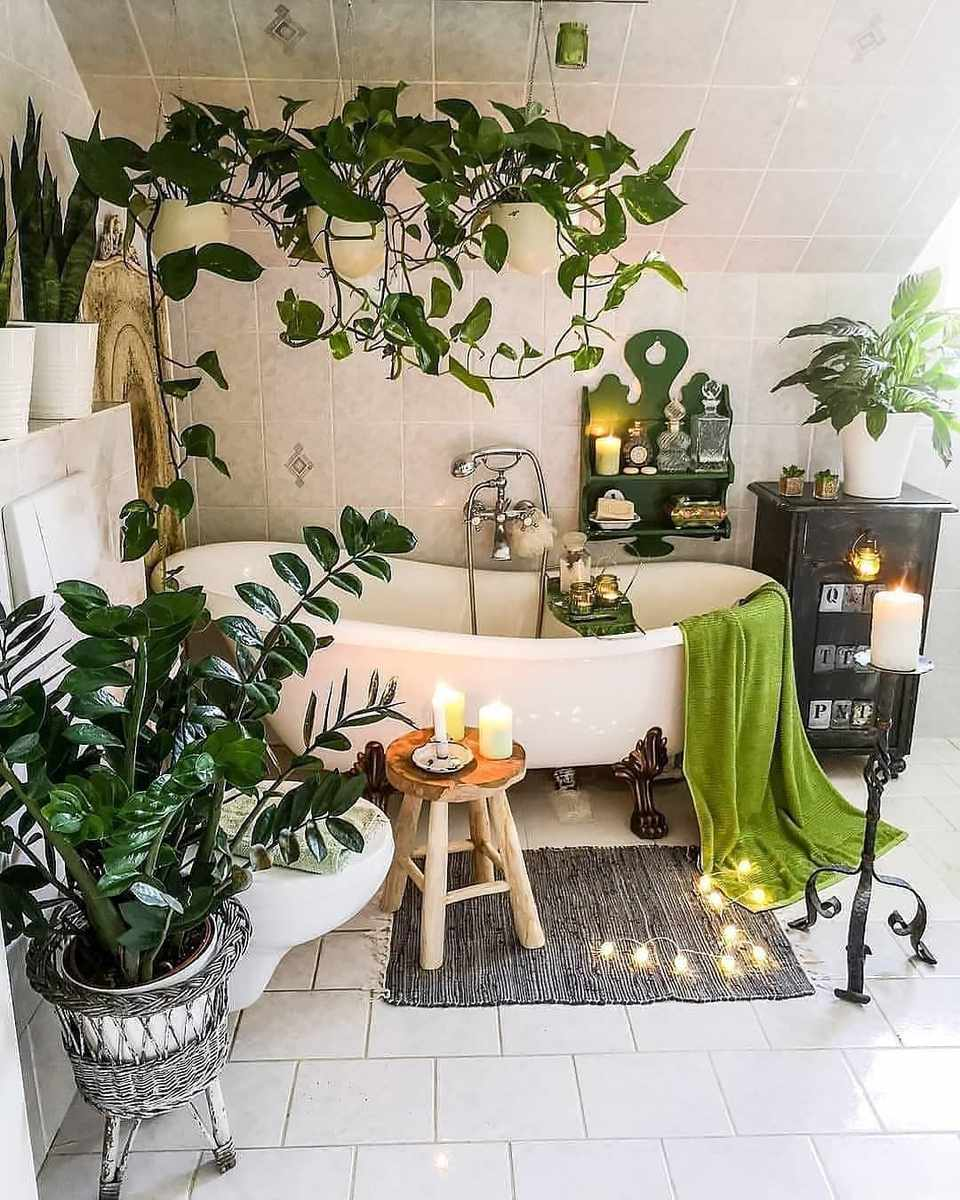 A bathroom with green plants