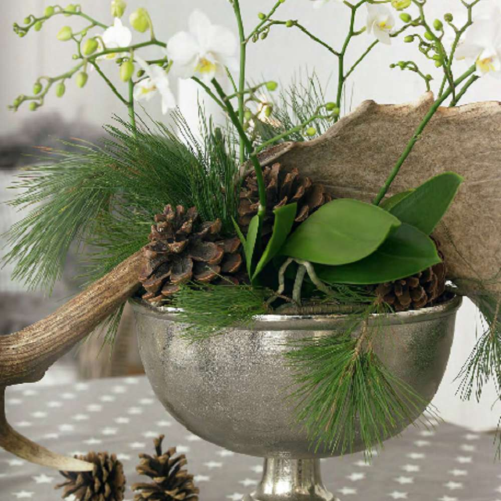 winter centerpiece with pinecones and branches